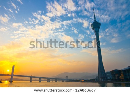 MACAU,CHINA -NOV 5: Macau Tower 338m in Macau on Nov 5, 2011. It is a Sightseeing Tower,Is one of the members of the Federation of the world tower. - stock photo