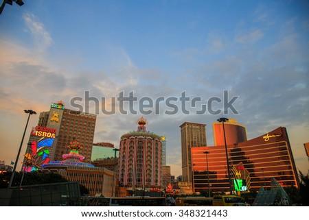 MACAU CHINA - November 2 2015:Macau , Casino Lisboa in Macao lights. Macau is the gambling capital of Asia. - stock photo