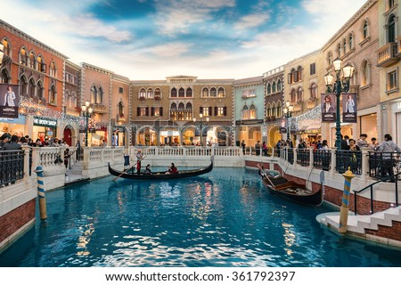 MACAU, CHINA - NOVEMBER 27, 2015: The Venetian Macau interior view. Macau is the gambling capital of Asia and is visited by over 25 million people every year. - stock photo