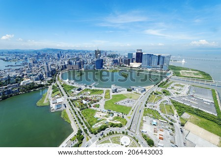 macau cityecape at day, view from macau tower - stock photo