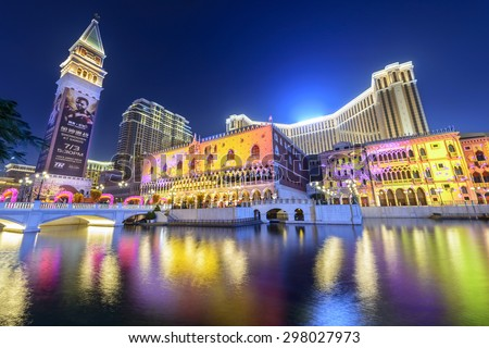 Macau - February 16, 2015: The Venetian Macao at night. It is a luxury hotel and casino resort in Macau. Venetian Macao is modeled on its sister casino resort The Venetian Las Vegas. - stock photo