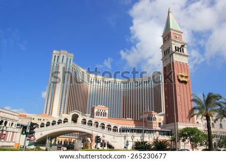 Macau - May 31, 2013: The Venetian Macao, the seventh-largest building in the world by floor area, is the largest casino in the world. - stock photo