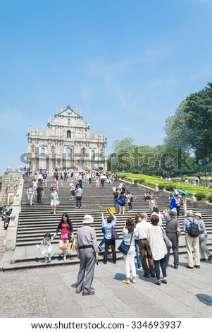 Macau - Oct 16, 2015: Ruins of St. Paul's. Built from 1602 to 1640, one of Macau's best known landmarks. Part of the Historic Centre of Macau, a UNESCO World Heritage Site. - stock photo