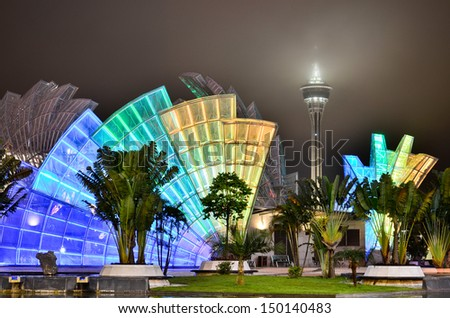 Macau tower at night - stock photo