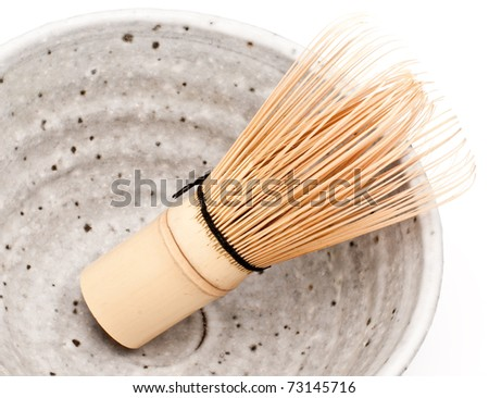 Macha tea special bowl with a whisk aside - stock photo