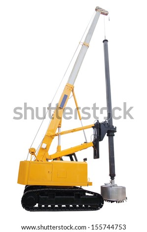 machine for drilling holes isolated under the white background - stock photo