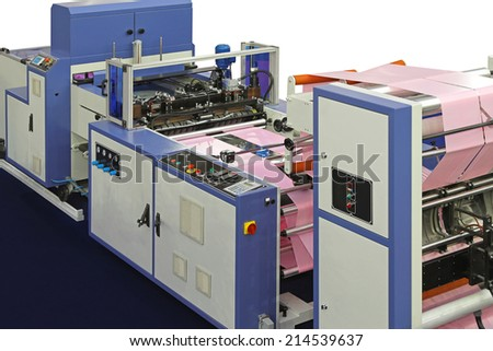 Machine for plastic bags production from roll - stock photo