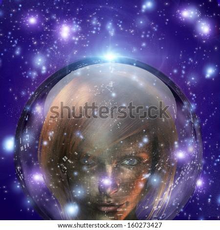 Machine Human Girl - stock photo