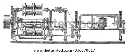 Machine manufacture the cables in one go, vintage engraved illustration. Industrial encyclopedia E.-O. Lami - 1875. - stock photo