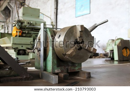 machine tools in a workshop, closeup of photo - stock photo
