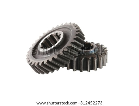 Machinery concept. Two old gears on white background. Isolated with clipping path - stock photo