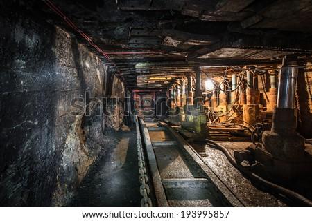 machinery in modern coal mine - stock photo