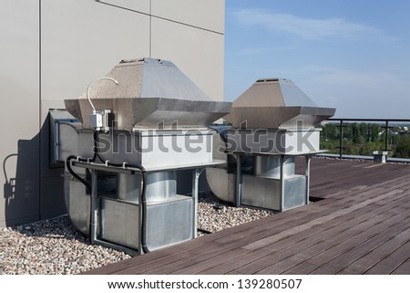 Machinery of an air-conditioning in the skyscraper - stock photo