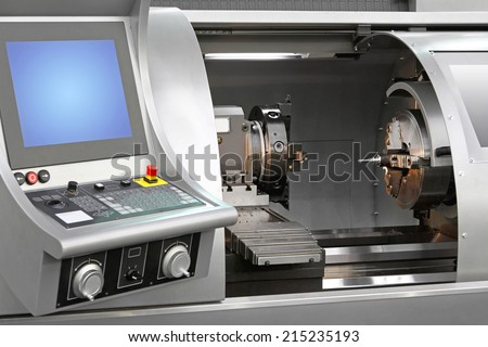Machining centre combination machinery in work shop - stock photo