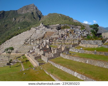 Machu Picchu, a ancient Inka city in the Andes located in Peru (South America) - stock photo