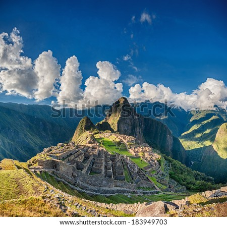 Machu Picchu beautiful panorama overview above the world heritage site - stock photo
