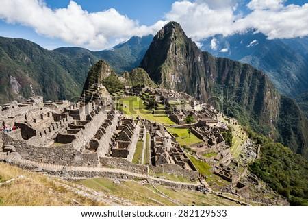 Machu Picchu citadel view - stock photo