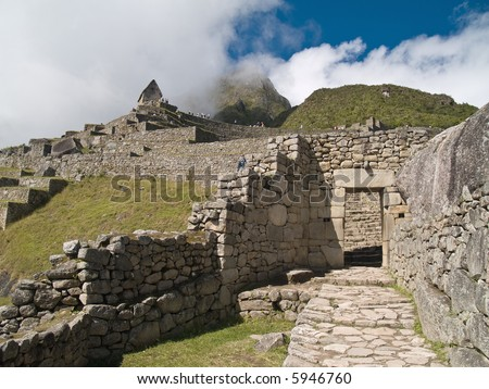 Machu Picchu Entrance door (Peru) - stock photo
