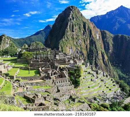 Machu Picchu in Peru.  It is one of the new Seven Wonders of the World. - stock photo