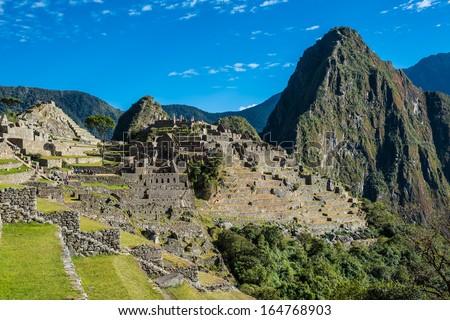 Machu Picchu, Incas ruins in the peruvian Andes at Cuzco Peru - stock photo