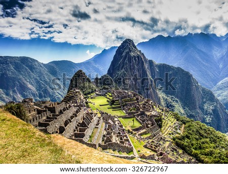 Machu Picchu Lost city of Inkas in Peru - stock photo