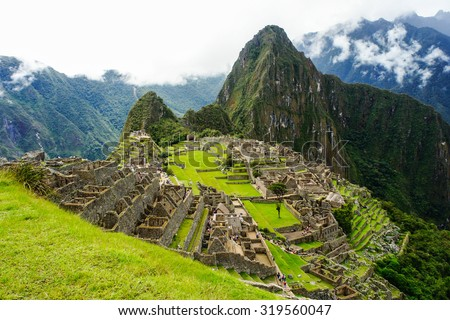 Machu Picchu, One of the New Seven Wonders of the World in Peru, UNESCO announced it to be the World Heritage Site in 1983.  - stock photo