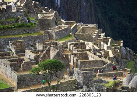 Machu Picchu, Peru, UNESCO World Heritage Site. One of the New Seven Wonders of the World - stock photo