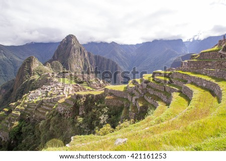 Machu Picchu,The Incan ruins of Machu Picchu in Peru Historical Sanctuary in 1981 and a UNESCO World Heritage Site in 1983. One of the New Seven Wonders of the World - stock photo