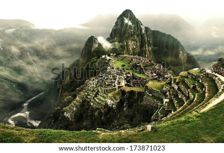Machu Picchu - The most famous lost city with the river Urubamba located near Cuzco/Machu Picchu, The lost city in Peru/Machu Picchu - stock photo