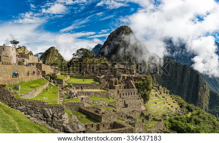 Machu Picchu, Unesco World Heritage site and New 7 Wonder of the world, Cusco, Peru, South America - stock photo