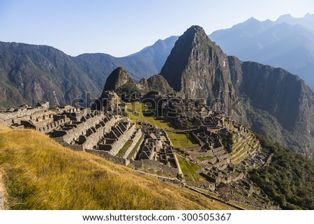 Machu Picchu, was designed Peruvian Historical Sanctuary in 1981 and a World Heritage Site by UNESCO in 1983. - stock photo