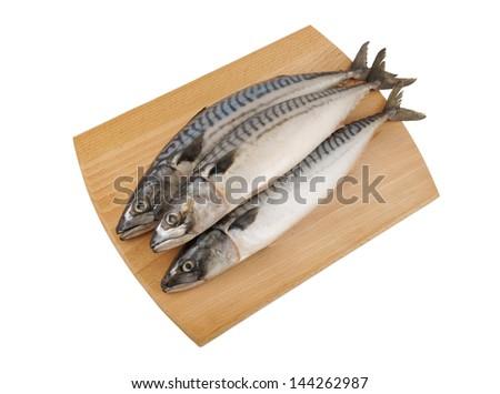 Mackerel fish on wooden board isolated - stock photo