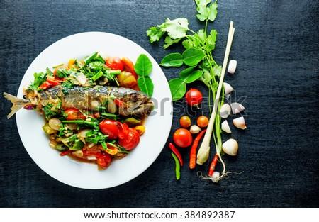 Mackerel fish salt, Thai food, Still life stly - stock photo