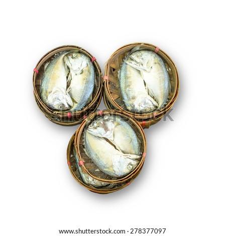 Mackerel steamed on bamboo basket isolated on white background - stock photo