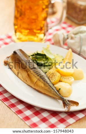 mackerel with potatoes and beer - stock photo