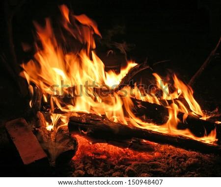 macro campfire at night - stock photo