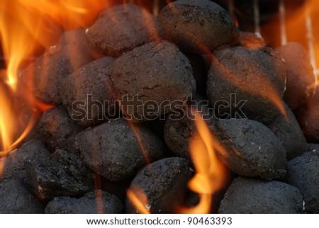 macro charcoal barbecue briquettes - stock photo