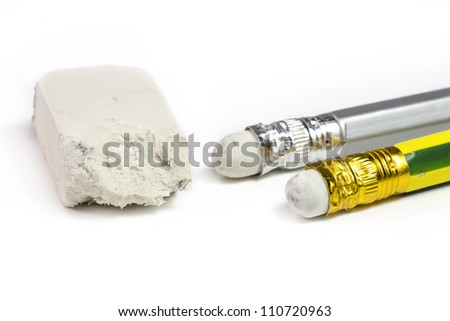 Macro close-up of chewed pencil with eraser - stock photo