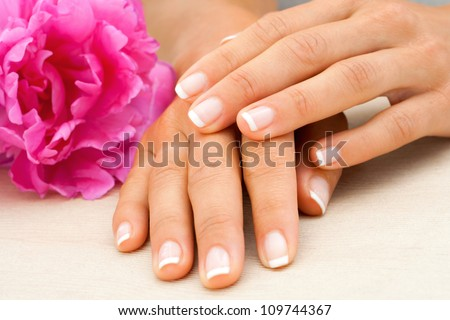Macro close up of female hands with french manicure. - stock photo