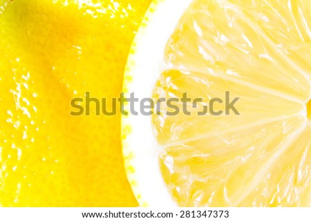Macro close up of Lemon. Inside and outside of Lemon.  - stock photo