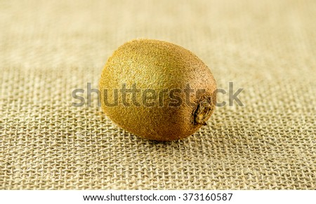 Macro closeup of furry little whole kiwi fruit - stock photo