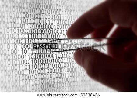 Macro computer screen shot with binary code and password tex, great concept for computer, technology  and online security. - stock photo