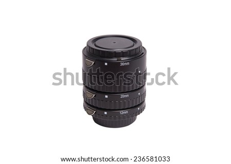 Macro Extension Tube  isolated on white background. - stock photo