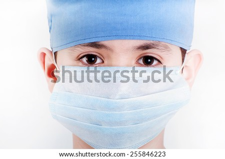 Macro face teenager in protective mask  - stock photo