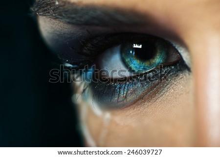 Macro female beauty eye - stock photo
