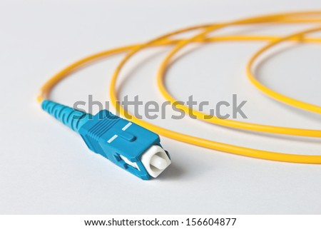 Macro Fiber optic patchcord SC on white background - stock photo