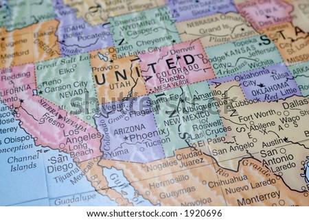 Macro Globe Map Detail 08 - stock photo