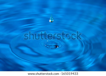 Macro highlight droplet breaks the surface of the water - stock photo