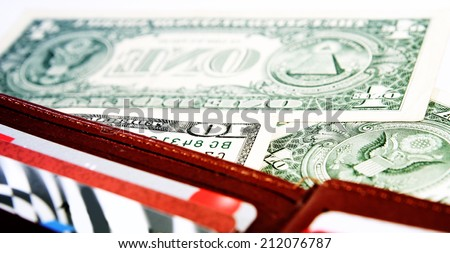 Macro image of a brown  leather wallet - stock photo