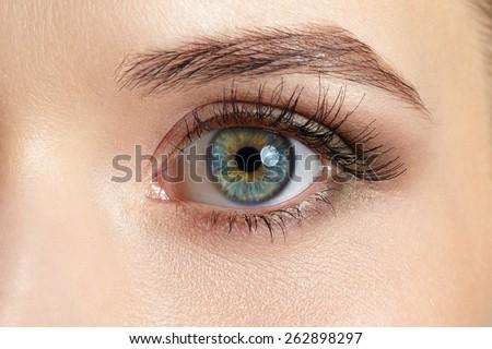 Macro image of beautiful woman eye - stock photo
